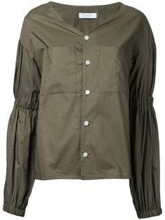 gathered sleeve V-neck blouse En Route