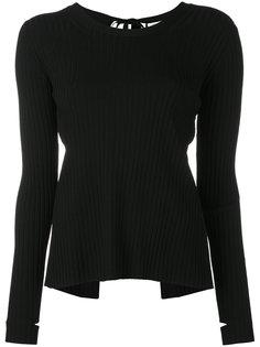 трикотажная блузка с вырезами на рукавах Helmut Lang