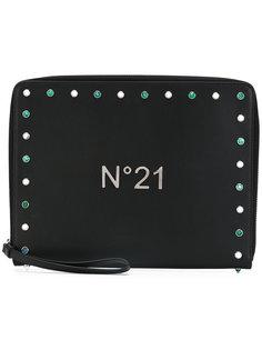 клатч на молнии с заклепками Nº21