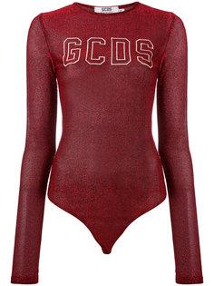 logo print metallic bodysuit Gcds