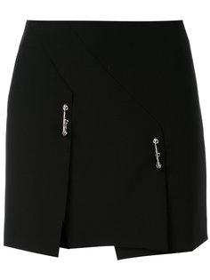 асимметричная короткая юбка с булавками Versus