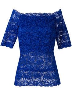 boat neck lace blouse D.Exterior
