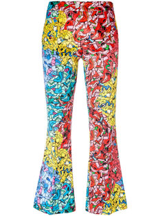 printed flared cropped trousers Ultràchic
