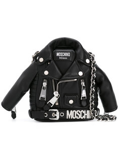 клатч в виде байкерской куртки Moschino
