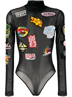 multi-patches sheer bodysuit Gcds