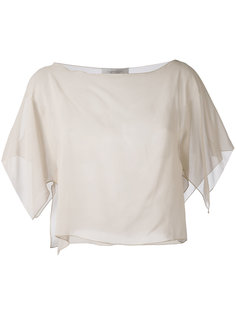 semi-sheer cropped blouse D.Exterior