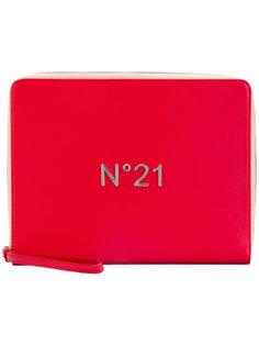 клатч на молнии с бляшкой с логотипом Nº21