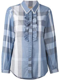 рубашка в клетку с рюшами Burberry
