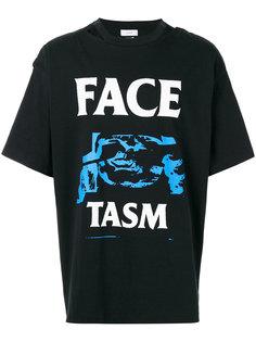 футболка с принтом и открытой спиной Facetasm