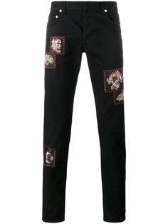 джинсы с заплатками с цветочным принтом Dior Homme