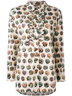 рубашка с рюшами абстрактным принтом Burberry