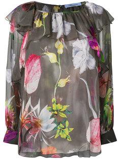 блузка с рюшами и цветочным принтом Blumarine
