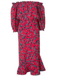 платье с открытыми плечами с принтом Saloni