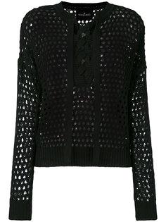 lace-up open knit blouse Designers Remix