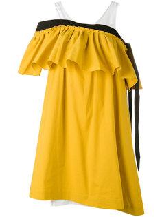 cold shoulder ruffle dress Isa Arfen