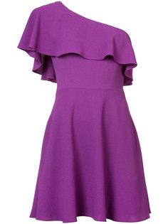 one shoulder ruffle dress Black Halo