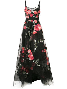 floral embroidered maxi dress Marchesa