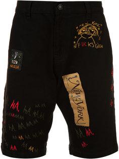multi patch denim shorts  Haculla