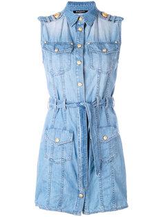 джинсовое платье-рубашка Balmain