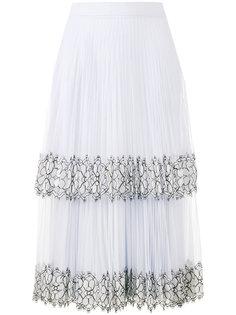 плиссированная юбка с кружевами Christopher Kane