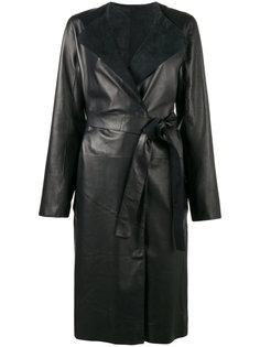 пальто с контрастным воротником и поясом Yves Salomon