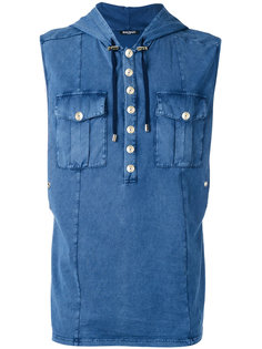 sleeveless denim effect hoodie Balmain