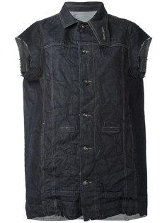 джинсовая куртка без рукавов с потертостями  Rick Owens DRKSHDW