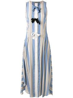 полосатое расклешенное платье с бантами Sportmax