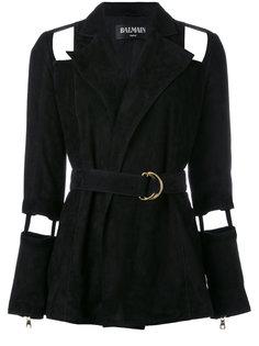 пиджак с поясом и вырезными деталями Balmain