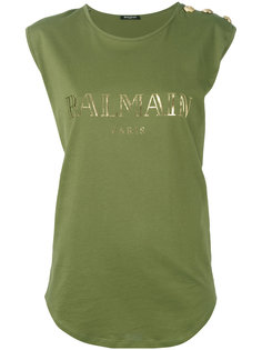 майка с логотипом бренда Balmain