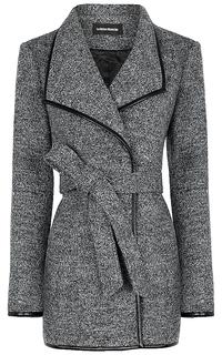 Полушерстяное пальто с отделкой из экокожи La Reine Blanche