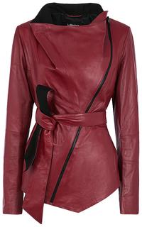 Бордовая кожаная куртка LE Monique