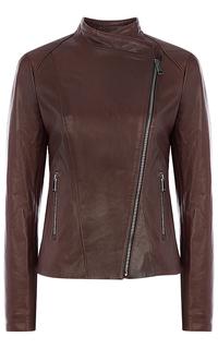 Коричневая кожаная куртка La Reine Blanche