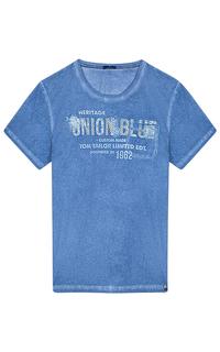 Голубая футболка с принтом Tom Tailor