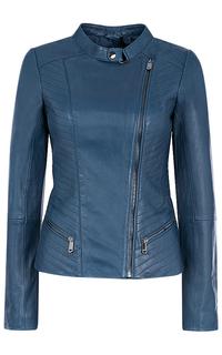 Синяя кожаная куртка La Reine Blanche
