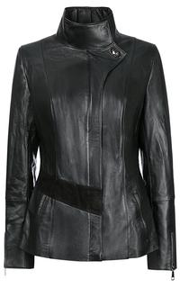 Удлиненная кожаная куртка La Reine Blanche