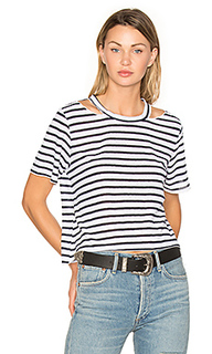 Stripe cut out crop tee - LNA