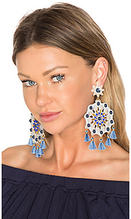 X revolve aretes fiesta blue mandala earring in blue & grey - Mercedes Salazar