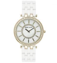Часы округлой формы с белым браслетом Anne Klein