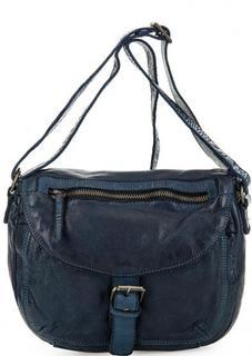 Синяя кожаная сумка с откидным клапаном Gianni Conti