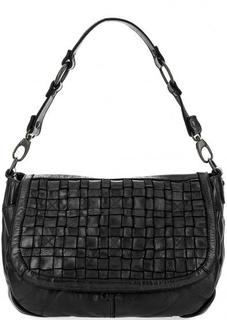 Черная кожаная сумка с двумя отделами Gianni Conti
