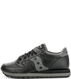 Кожаные кроссовки с контрастными вставками Saucony