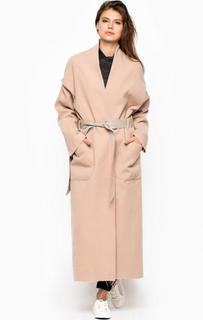 Бежевое длинное пальто из полиэстера MET