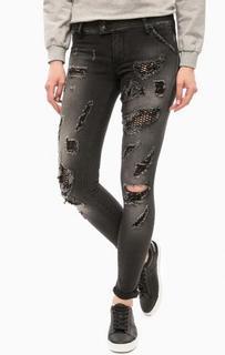 Рваные черные джинсы скинни MET