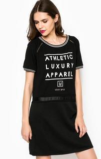 Платье из вискозы с принтом и отделкой стразами Liu Jo Sport