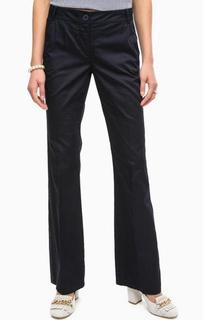Расклешенные синие хлопковые брюки на молнии Pennyblack