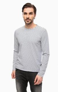 Белая футболка в полоску с длинными рукавами Replay