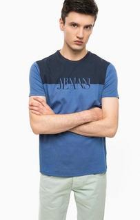 Хлопковая футболка с логотипом бренда Armani Jeans