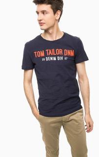 Синяя футболка с контрастным принтом Tom Tailor Denim