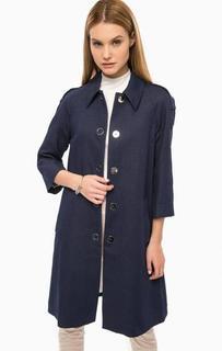 Длинное синее пальто на кнопках Drykorn
